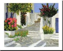Escaliers a Mykonos art print poster with block mounting