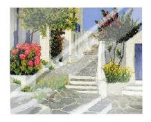 Escaliers a Mykonos art print poster with laminate