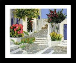 Escaliers a Mykonos art print poster with simple frame