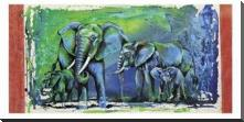 Wild Elephants art print poster with block mounting