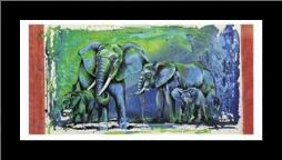 Wild Elephants art print poster with simple frame