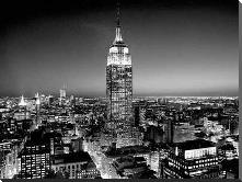 Empire State Building at Night art print poster with block mounting