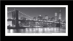 Brooklyn Bridge art print poster with simple frame