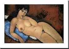 Nude on a Blue Cushion art print poster with block mounting
