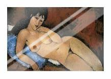 Nude on a Blue Cushion art print poster with laminate