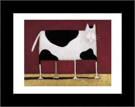Spotted Cat art print poster with simple frame
