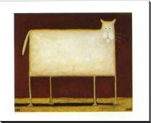 White Cat II art print poster with block mounting