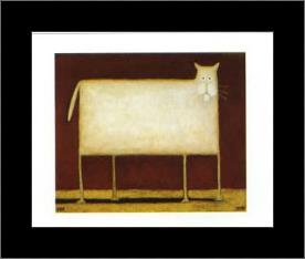 White Cat II art print poster with simple frame