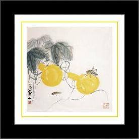 Grasshoppers on Yellow Gourds art print poster with simple frame