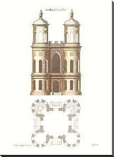 Gothic Elevations Plans {H} art print poster with block mounting