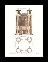 Gothic Elevations Plans {H} art print poster with simple frame