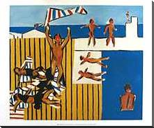 The Bathers 1943 art print poster with block mounting