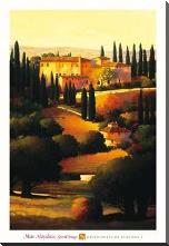 Green Hills Of Tuscany I art print poster with block mounting