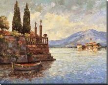 Evening Light On Lake Como art print poster with block mounting