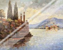 Evening Light On Lake Como art print poster with laminate