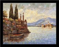 Evening Light On Lake Como art print poster with simple frame