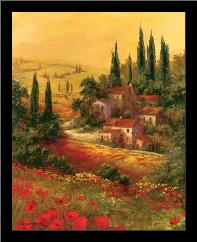 Toscano Valley I art print poster with simple frame