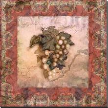 Tuscany Grapes art print poster with block mounting