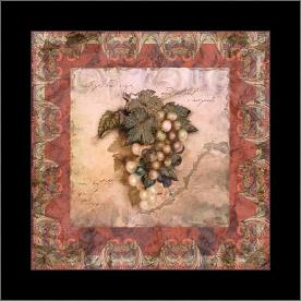 Tuscany Grapes art print poster with simple frame