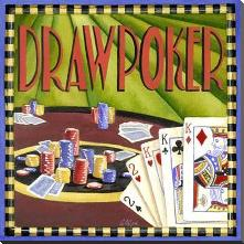 Draw Poker art print poster with block mounting