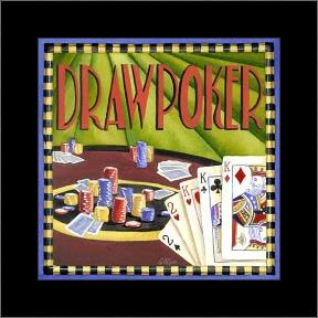 Draw Poker art print poster with simple frame