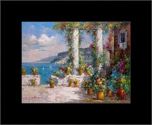 Hillside View I art print poster with simple frame