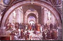 School of Athens art print poster with block mounting