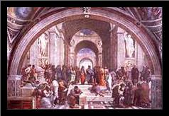 School of Athens art print poster with simple frame