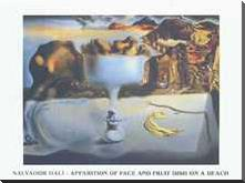 Apparition of Face and Fruit Dish art print poster with block mounting