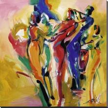 Jazz Explosion I art print poster with block mounting