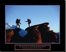 Encouragement - Climbers art print poster with block mounting