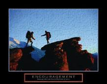 Encouragement - Climbers art print poster transferred to canvas
