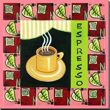Coffee-Espresso art print poster with block mounting