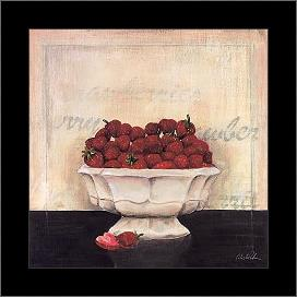 Un Desrt De Fraises art print poster with simple frame