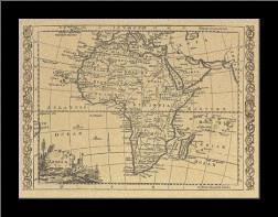 Africa, 1800 art print poster with simple frame