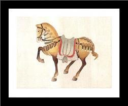 Dynastic Horses II art print poster with simple frame
