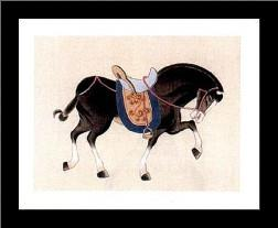 Dynastic Horses III art print poster with simple frame