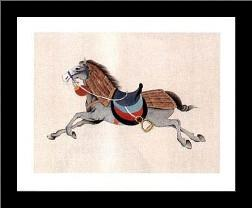 Dynastic Horses IV art print poster with simple frame