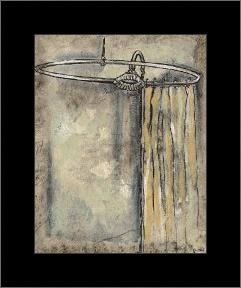 Antique Bath II art print poster with simple frame