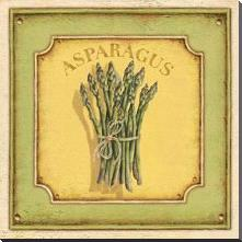 Asparagus art print poster with block mounting