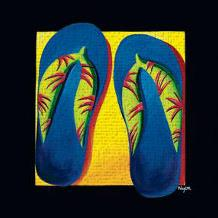 Bahama Thongs art print poster transferred to canvas