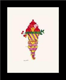 Ice Cream Dessert, C 1959 (Fancy Red) art print poster with simple frame