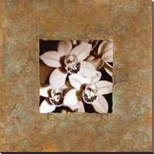 Orchids on Copper art print poster with block mounting