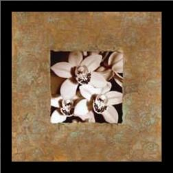 Orchids on Copper art print poster with simple frame