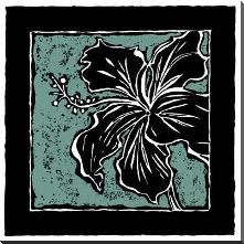 Tropical Woodblock IV art print poster with block mounting