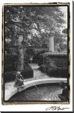 Garden Fountain I art print poster with block mounting