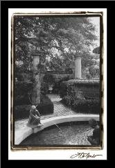 Garden Fountain I art print poster with simple frame
