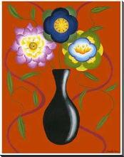 Stylized Flowers in Vase II art print poster with block mounting