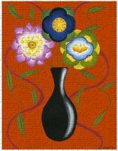 Stylized Flowers in Vase II art print poster transferred to canvas