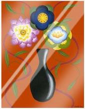 Stylized Flowers in Vase II art print poster with laminate